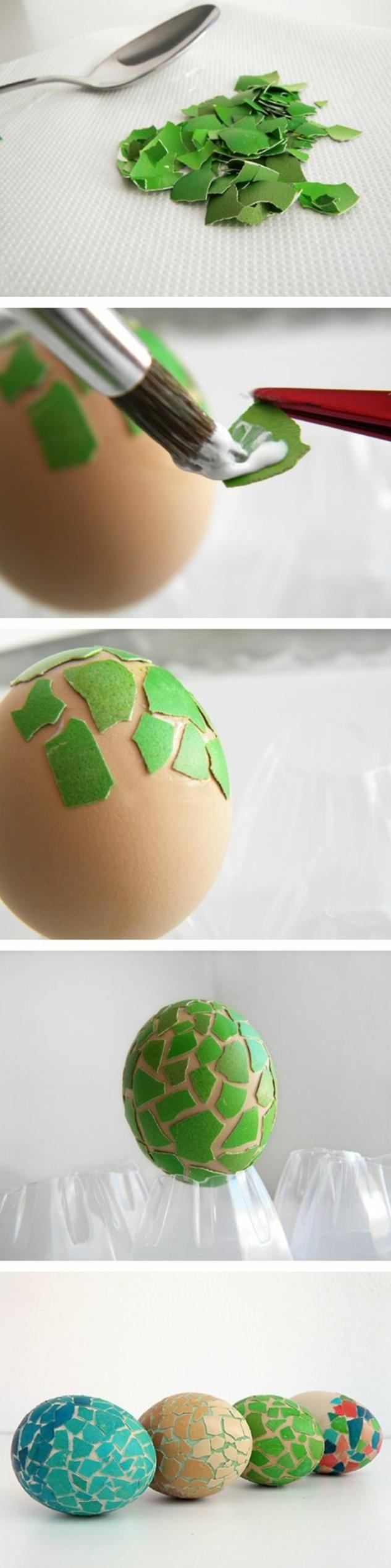 comment décorer un oeuf avec des morceaux de coquille d oeuf peints en vert, idée de bricolage avec des oeufs, tutoriel