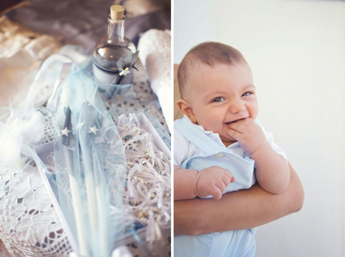 quelle tenue pour un baptême, costume bleu clair, chemise blanche