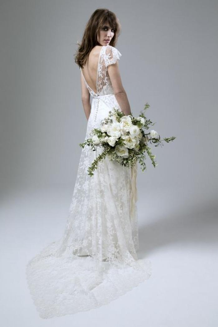 tendance dos décolleté, robe de mariée dentelle dans l'esprit boho