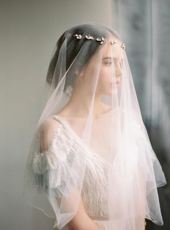 vision de mariée romantique avec voile mariée fin et joli headband