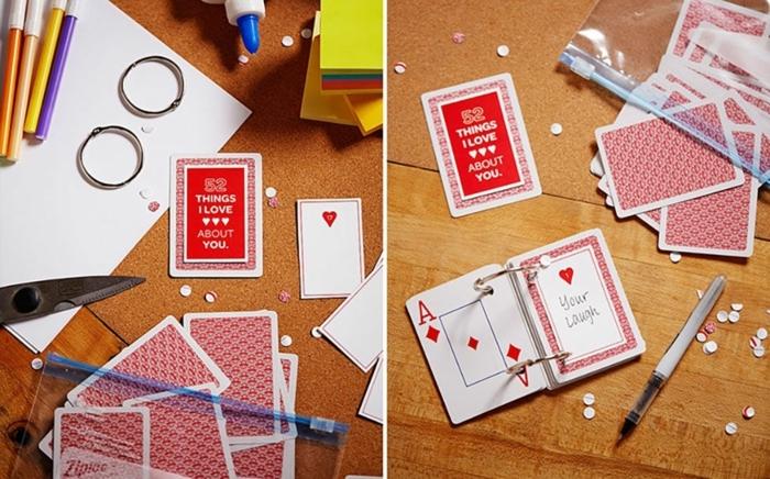 cadeau fete des meres, 52 choses que j aime chez toi, des cartes de jeu avec des messages personnalisés