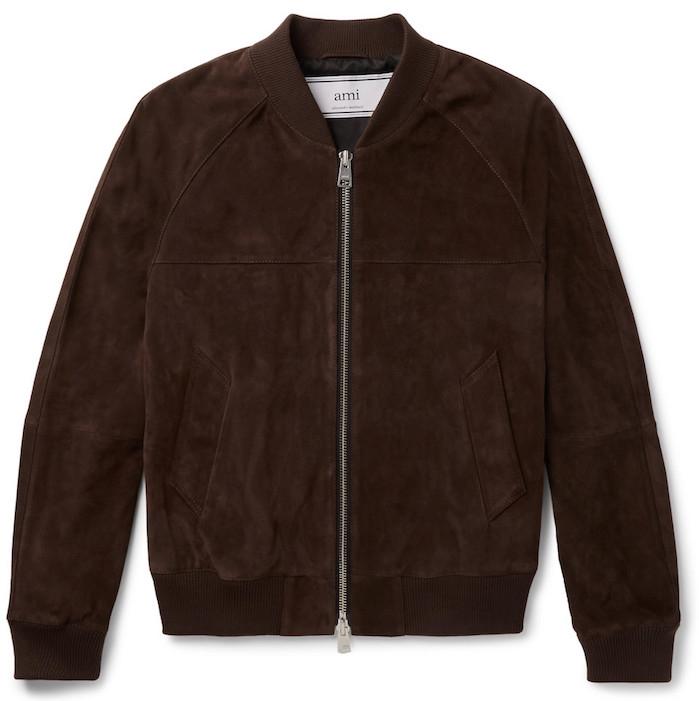 manteau homme AMI blouson bombers en cuir suede marron