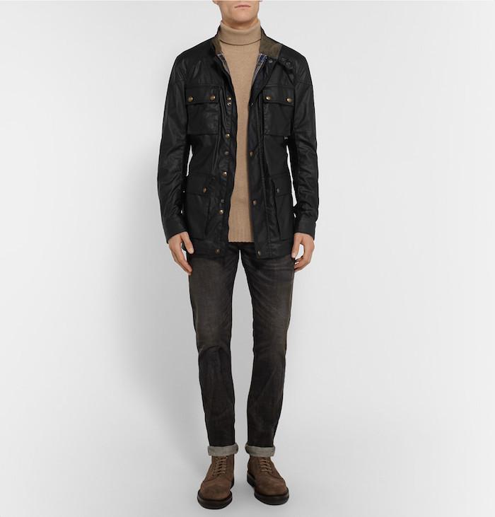 veste saharienne homme manteau esprit nylon noir belstaff
