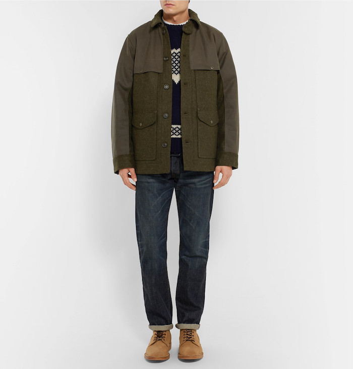 veste filson en laine style chasseur campagne kaki
