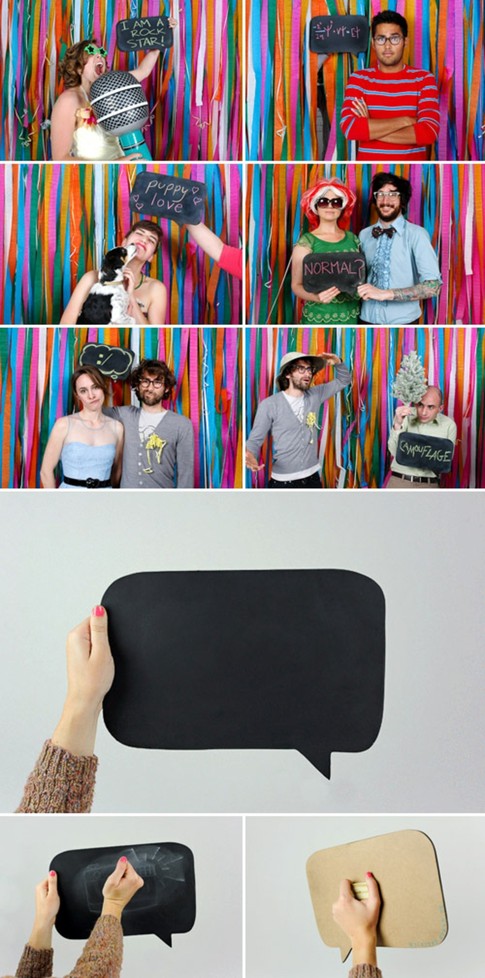 des accessoires photobooth bulles en carton à faire soi-même