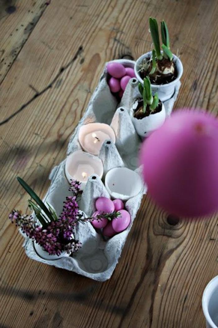 activité manuelle avec boite a oeuf, bougeoir et porte pots de fleurs