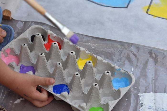 activité manuelle avec boite a oeuf, palette de boîte à oeufs