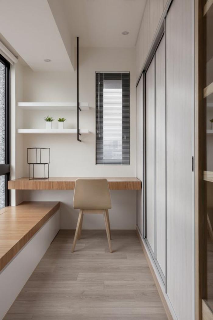 aménager une chambre de 10 m2, banquette au-dessous de la fenêtre et bureau suspendu