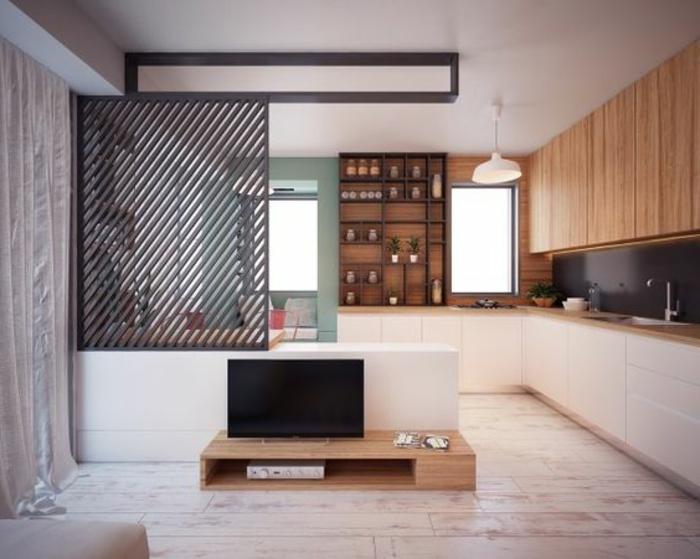 aménager une chambre de 10m2, salon et cuisine en l, petit meuble de tv