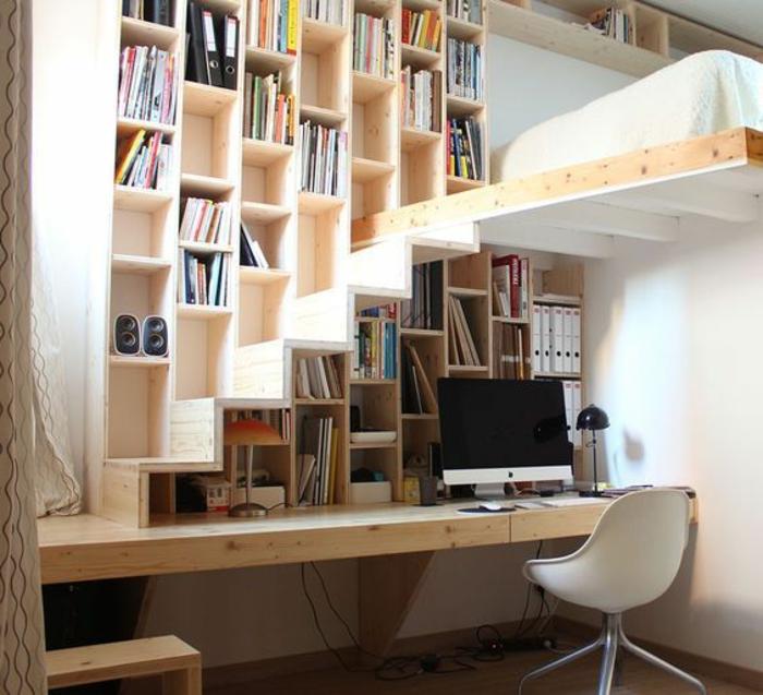 aménager une petite chambre, bibliothèque avec mezzanine, bureau suspendu