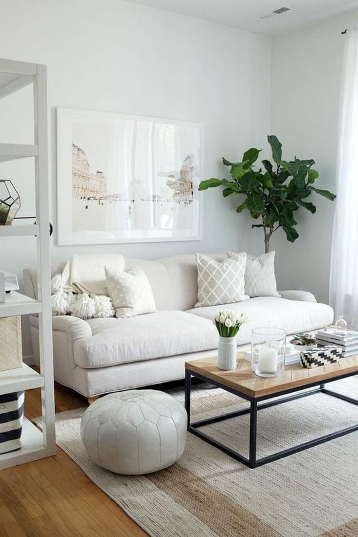 aménager une petite chambre, salle de séjour en teintes claires, table bois et fer et sofa à deux places