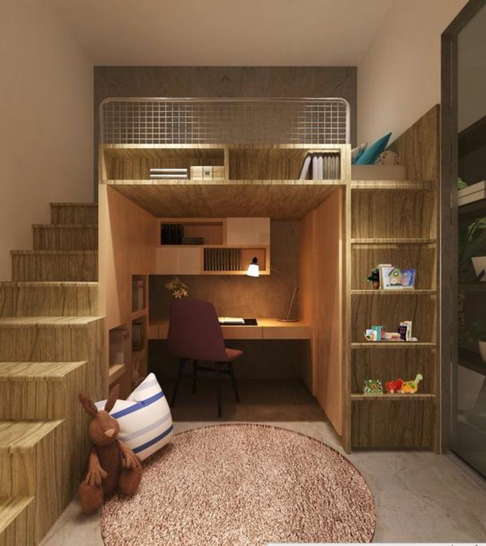aménager une petite chambre, chambre d'enfant astucieuse, bureau intégré dans la bibliothèque