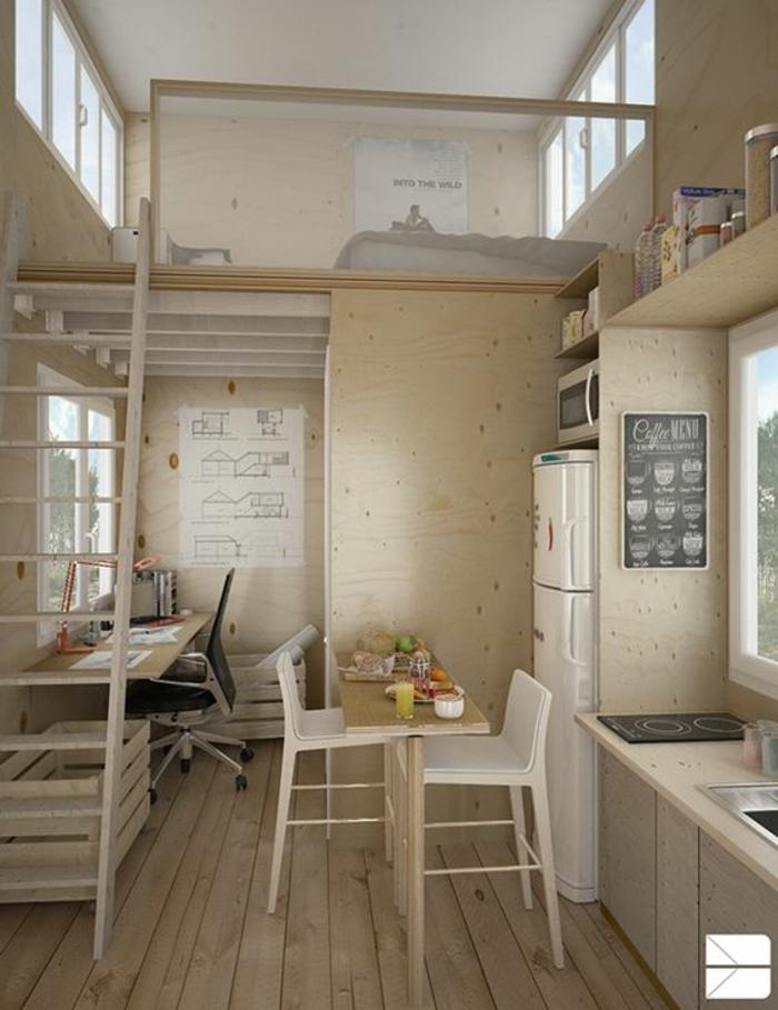 aménager une petite chambre, petit studio à deux étages, table à manger, cuisine, mezzanine