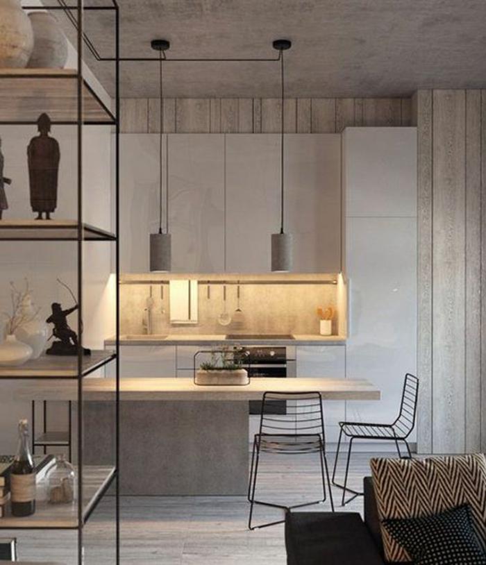aménager une petite chambre, cuisine en béton ciré, étagère métal et bois,