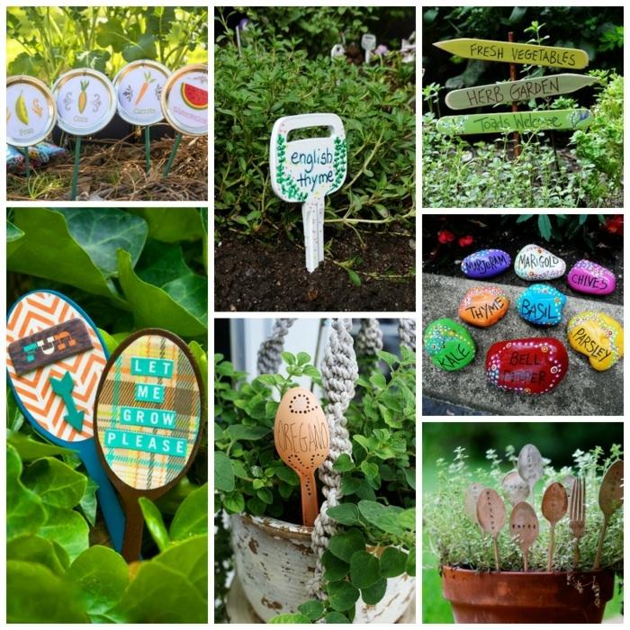idee deco jardin a faire soi meme, galets peints, enseignes en bois diy, plantes vertes, pot à fleur céramique