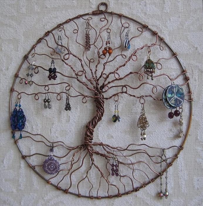 porte boucle d oreilles fait maison en fil de fer arbre à bijoux ikea
