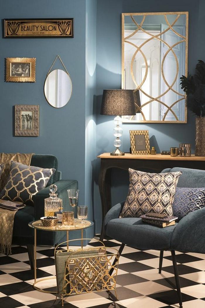 art nouveau art déco, coussins géométriques, console en bois et fer, peinture bleue, table basse, carrelage damier