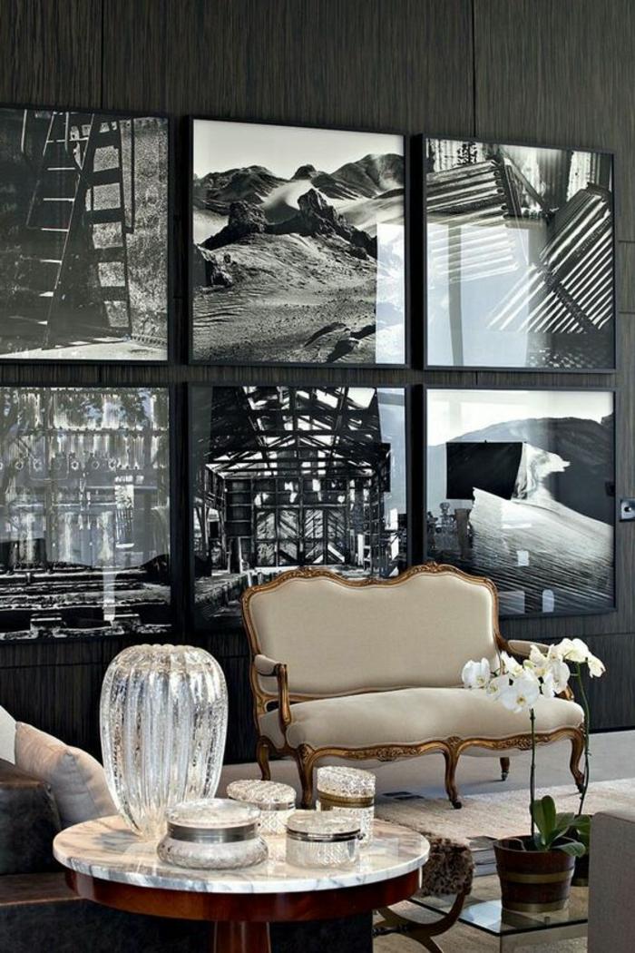 art nouveau art déco, sofa baroque, cadre doré, photographies en noir et blanc,