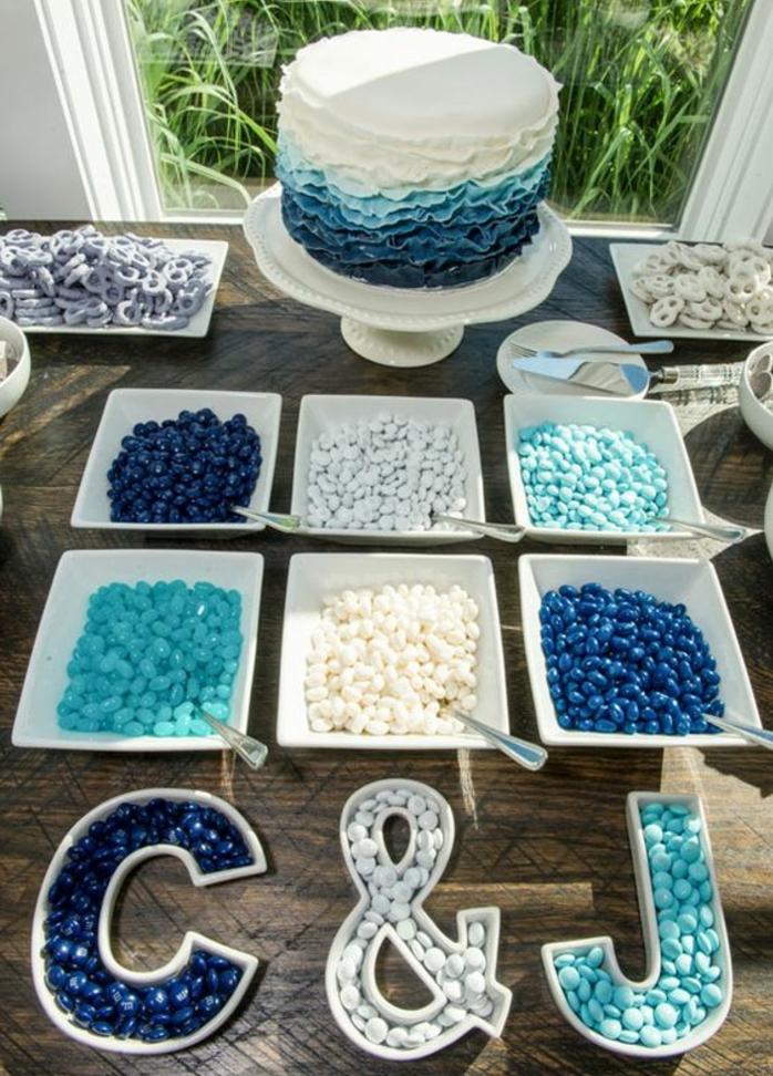 dragées et bonbons de sucre en bleu et blanc, gateau en bleu et blanc, table en bois, décor exterieur naturel, bar à bonbons mariage