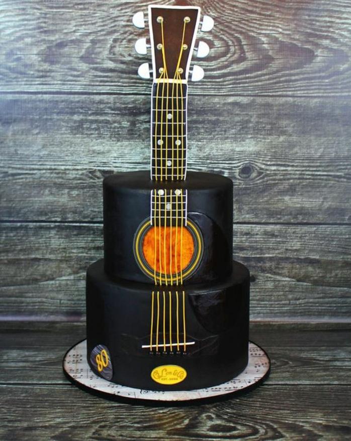 Gateau anniversaire pour homme gâteau original au chocolat guitare