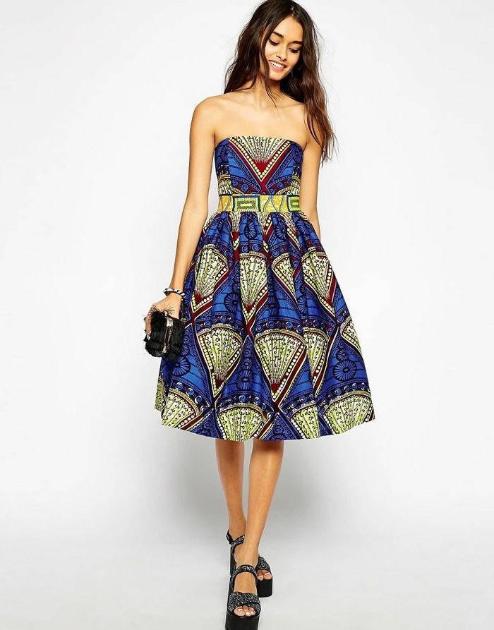 Idée model africaine en pagne habit africain moderne robe bleu et jaune