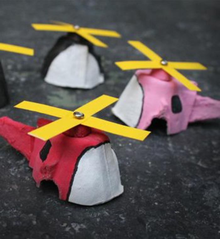 boite oeuf, helicoptères mignons colorés avec peintures multicolores