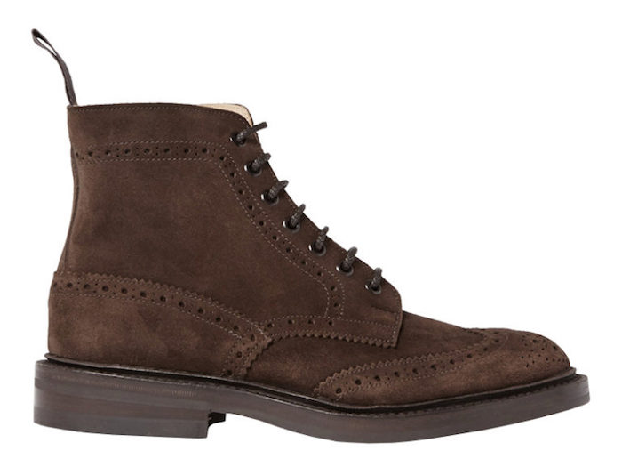 chaussures homme cuir marron suede brogues Tricker's