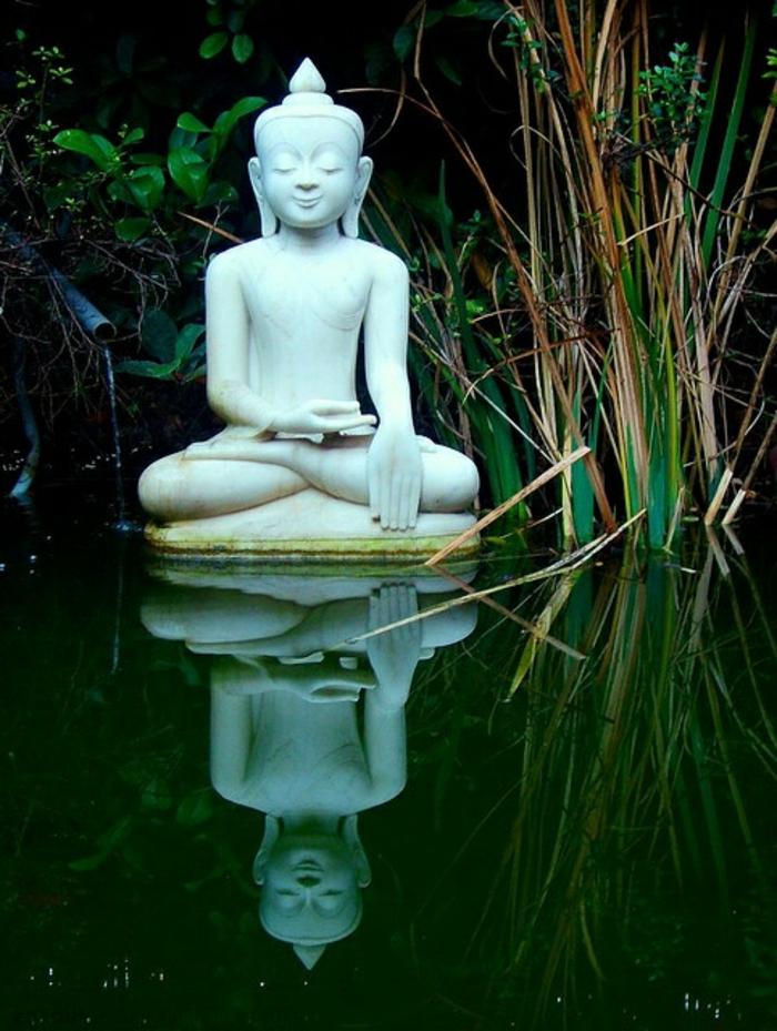 déco exterieur jardin, bassin d'eau, statue de boudhha, jardin zen, bouddha deco exterieur
