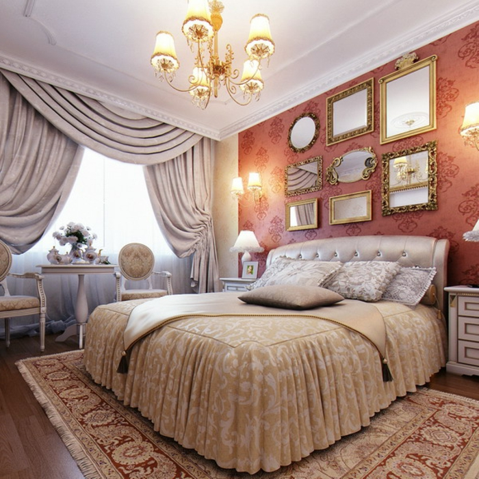 idée peinture chambre, murs en damas rouge, plafond blanc, grande fenêtre, bouquet de roses blanches