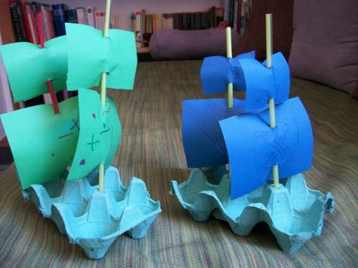 bricolage avec carton d'oeufs, faire des bateaux avec des boîtes