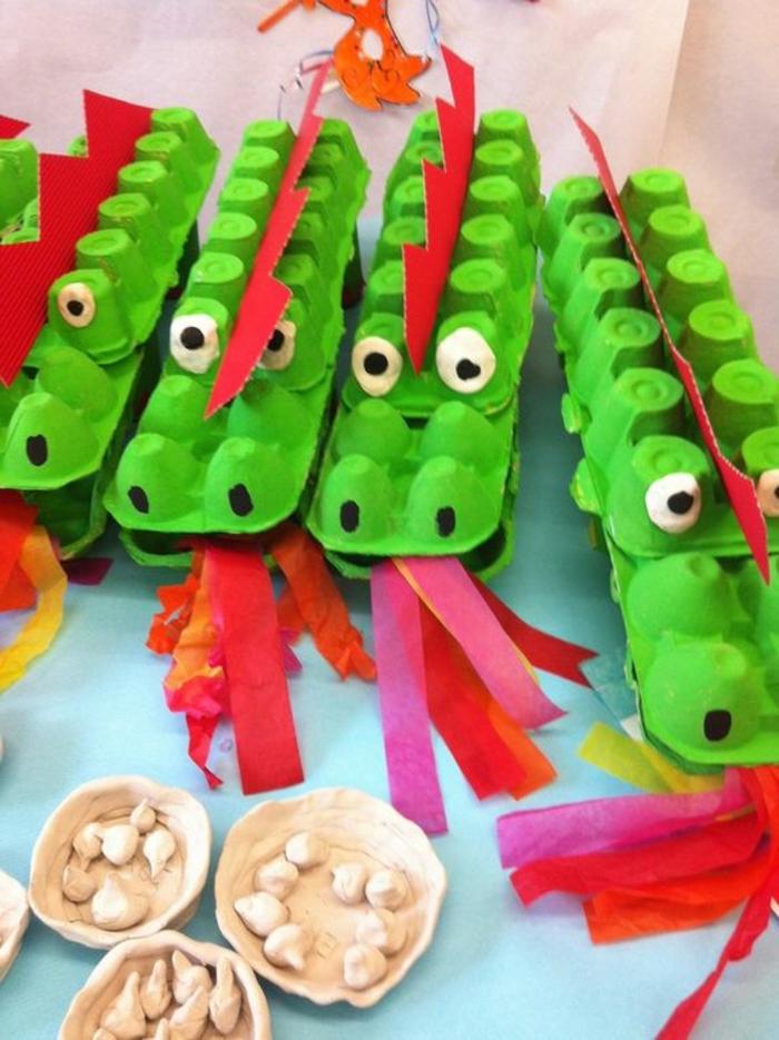 bricolage avec carton d'oeufs, crocodiles verts à faire soi-même