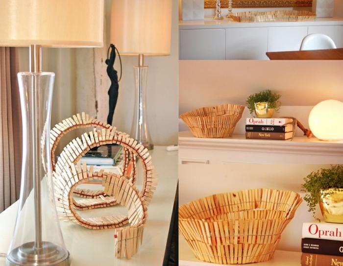 déco maison recyclée réalisée avec des pinces à linge bois, que faire avec des pinces à linges en bois