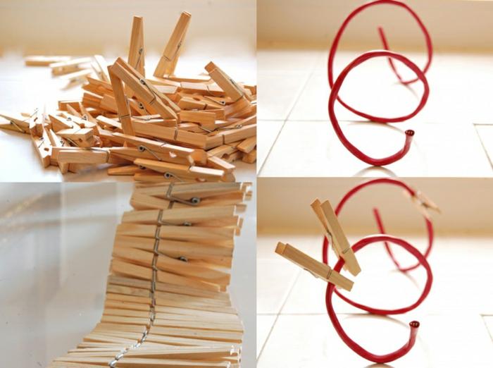 jolie corbeille de fruits en bois naturel réalisée avec des pinces à linge et du câble, bricolage maison avec pince à linge bois