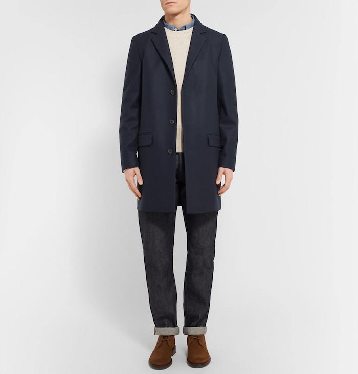 duffle coat laine bleu homme manteau long apc