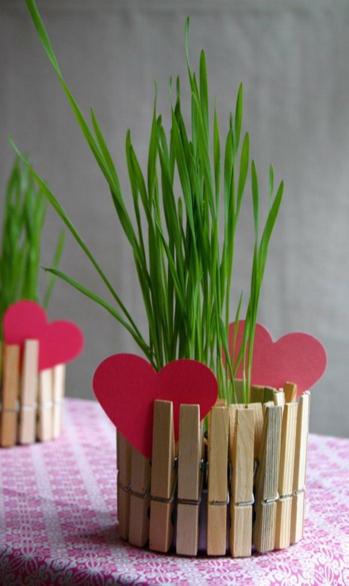 un cache-pot fait avec des pinces à linge en bois, bricolage facile avec une pince à linge bois