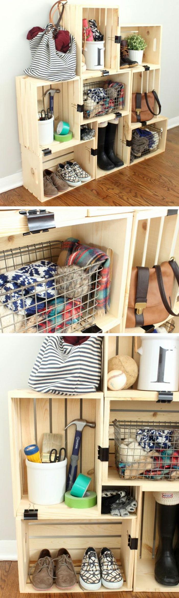 cagette bois, etagere à plusieurs compartiments our ranger des chaussures vêtements, sacs à main, affaires personnelles, objets de bricolage