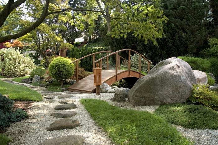 objets decoration jardin, parterre de fleurs avec galets, pont en bois, rochers dans le jardin