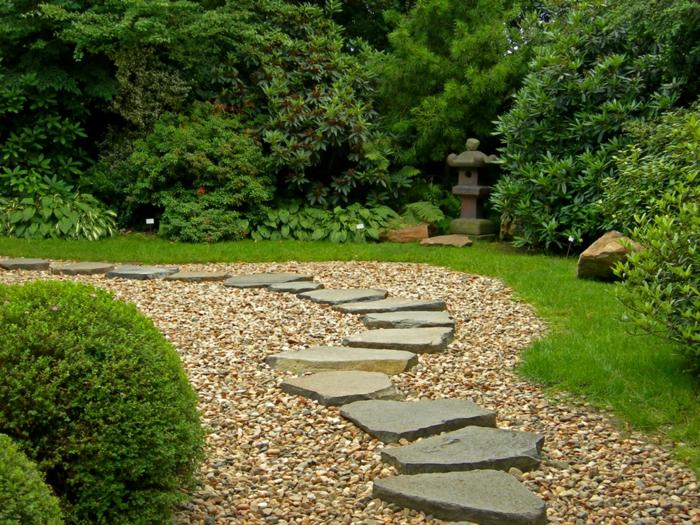 decoration exterieur, chemin en pierre dans le jardin, couverture de sol en pierre et sable, arbres verts