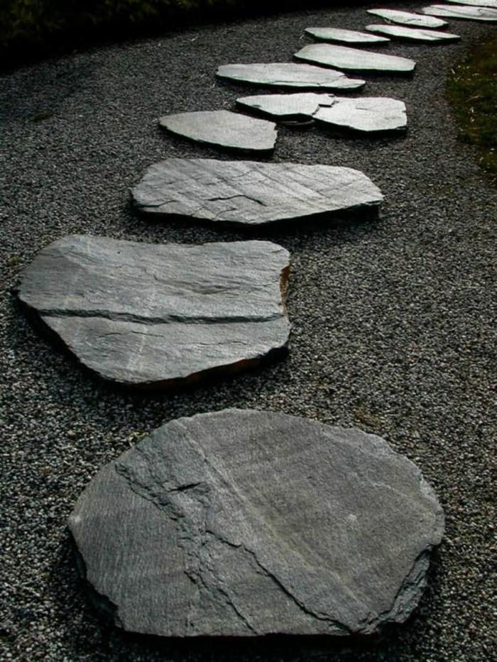 déco exterieur jardin, gravier, chemin en pierre, déco de jardin zen, sentier zig zag
