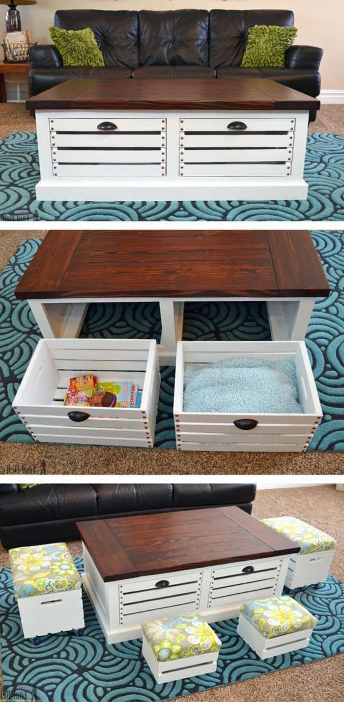 meuble en cagette, table basse avec des caisses de rangement intégrées et tabourets, coussins d assise colorés, canapé noir