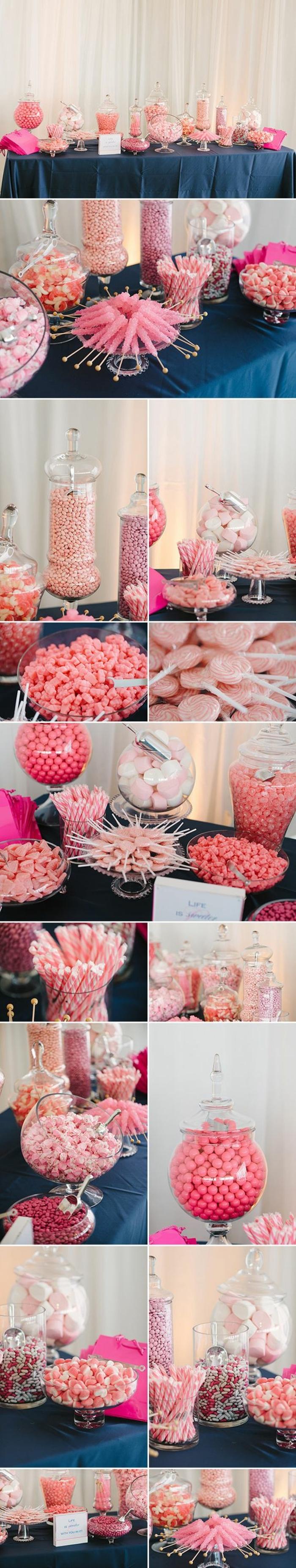 candy bar mariage à faire soi meme, bonbons couleur rose, dragées, guimauves, gélifiées, réglisses, boules de gomme, sucettes, nappe bleue, fond rideau blanc