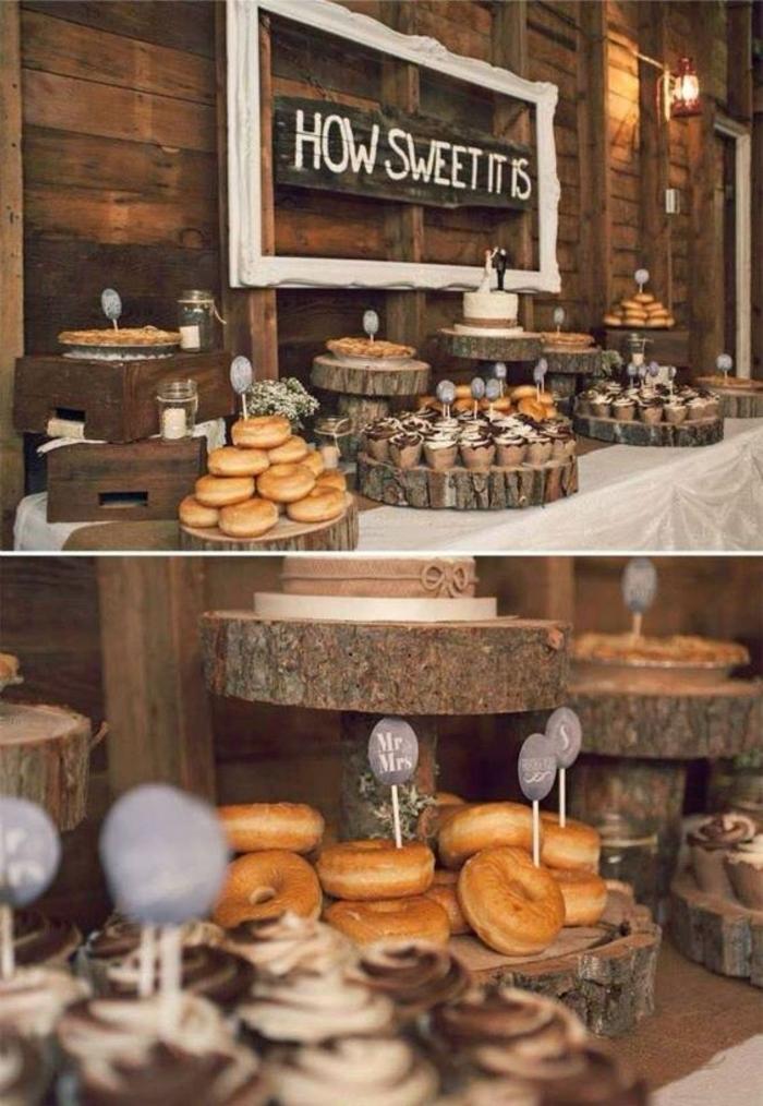 decoration bar a bonbon style rustique, beignets, cupcakes, présentoirs en bois, nappe blanche, planche décorative, étiquettes rondes
