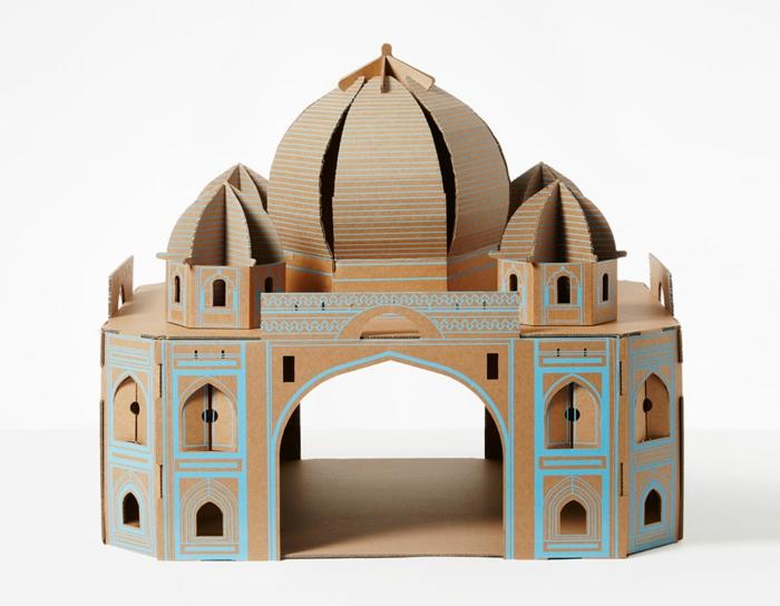 abri pour chat, chateau pour chat en carton style monument historique