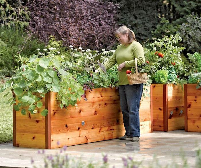 bac pour jardin jardiner debout potager surélevé