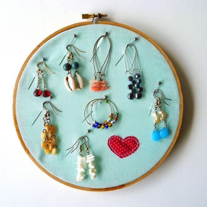 porte bijou support bijoux mural rond fait maison