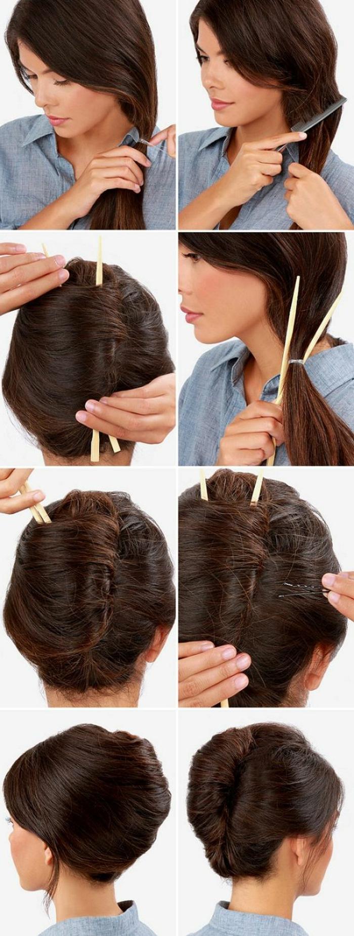 coiffure chignon facile, faire un chignon avec deux batons