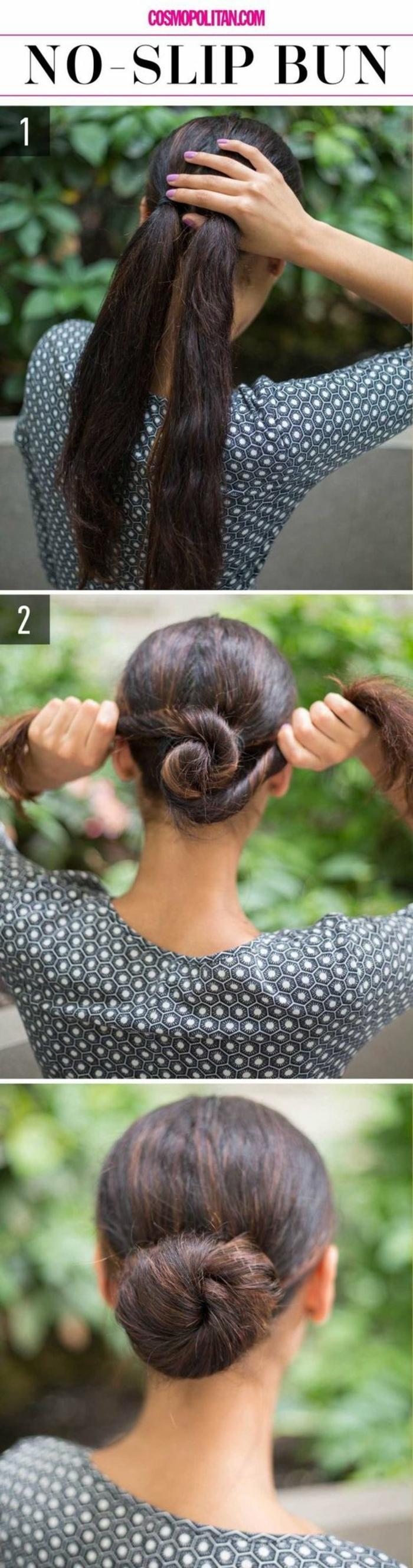 chignon facile, deux queues de cheval tordues et assemblées sur cheveux longs
