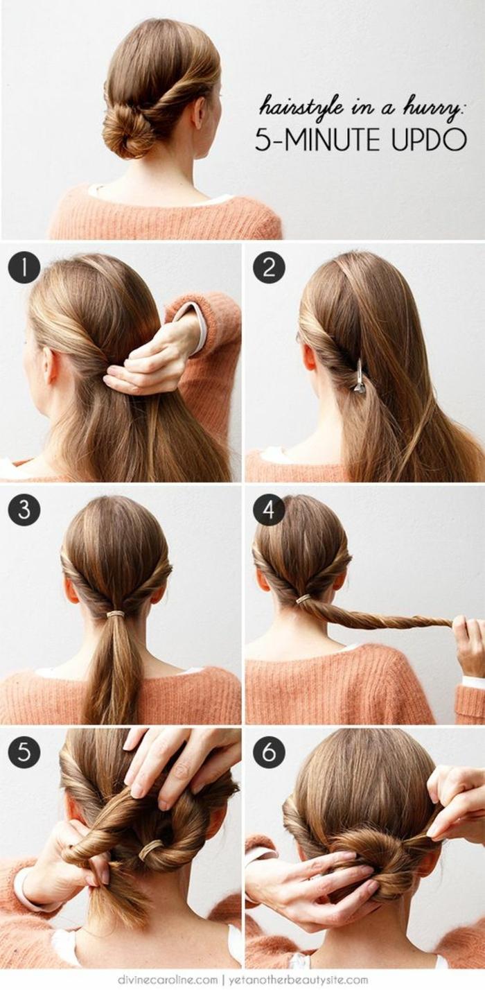 chignon facile a faire, coiffure romantique cheveux longs tordus