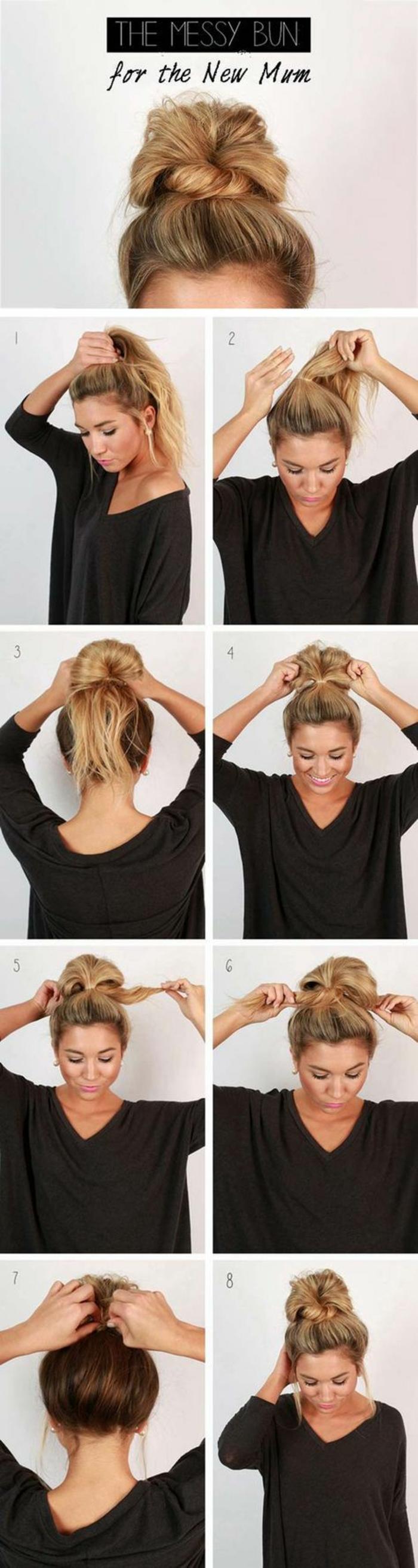 chignon facile à faire, chignon haut cheveux blonds et une mèche entortillée