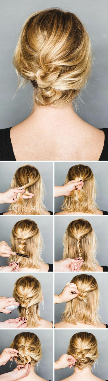 chignon facile à faire, idée coiffure facile pour cheveux mi-longs